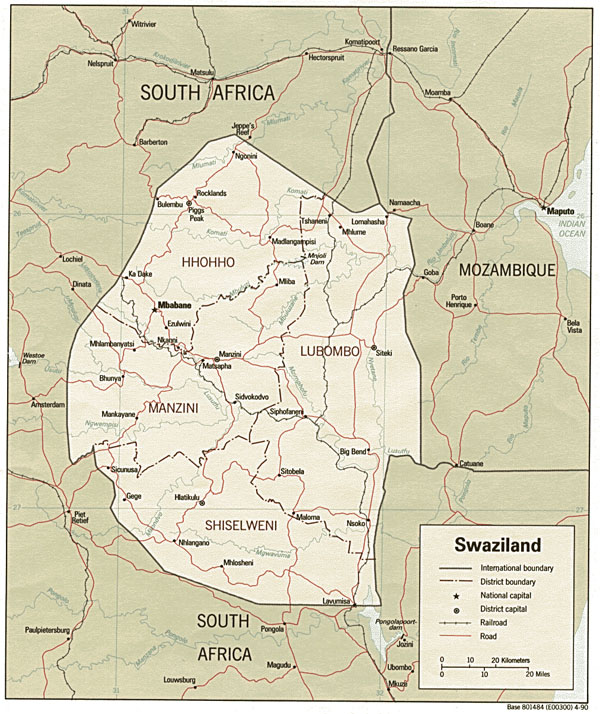Detailed political and administrative map of Swaziland.