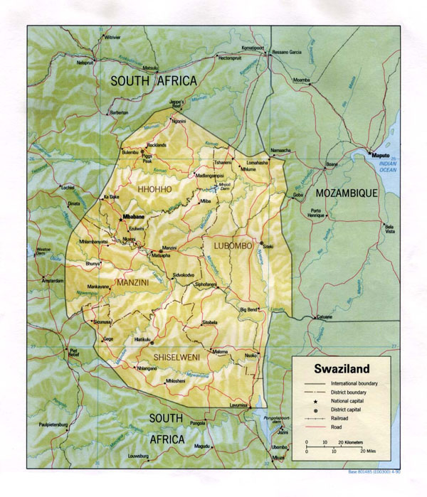 Detailed relief and political map of Swaziland.