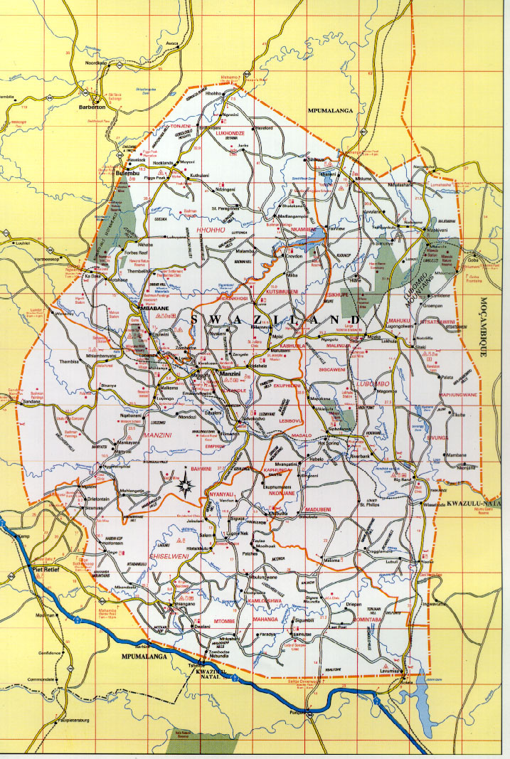 Detailed Road Map Of Swaziland Swaziland Detailed Road Map - Swaziland map