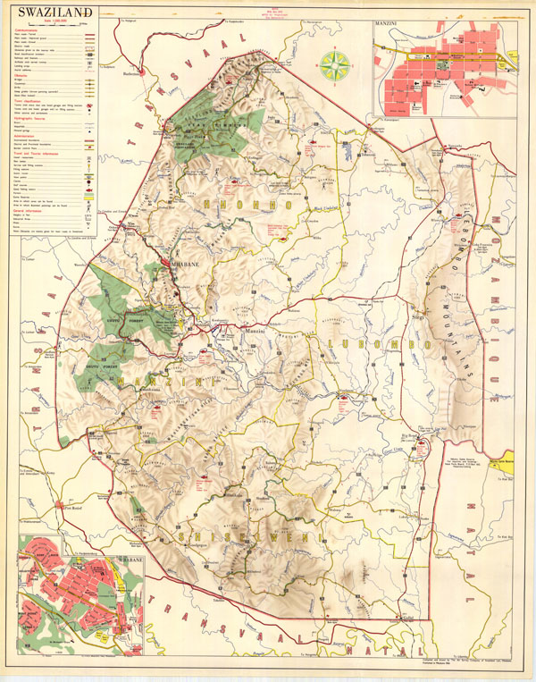 Large detailed road map of Swaziland with all cities.