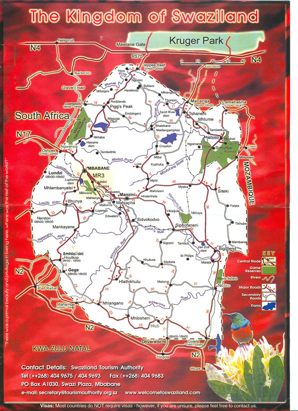 Large detailed tourist map of Swaziland. Swaziland large detailed tourist map.