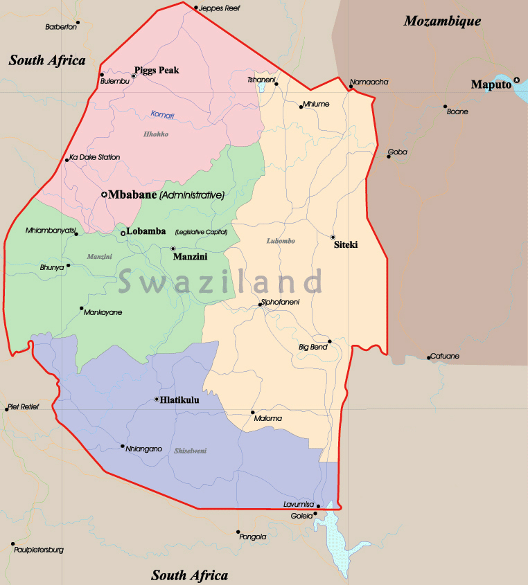 Swaziland detailed administrative map Detailed administrative map