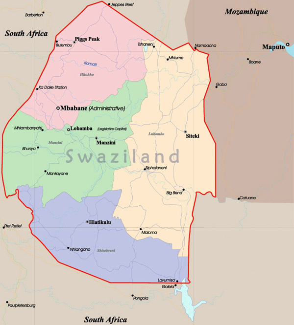 Swaziland detailed administrative map. Detailed administrative map Swaziland.