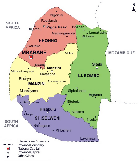 Swaziland detailed political map with regions and cities.