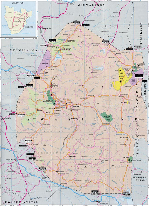 Swaziland tourist map. Tourist map of Swaziland.