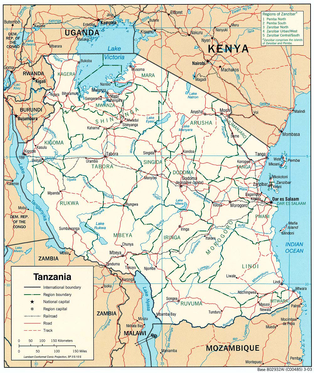 Picture of: Detailed Political And Administrative Map Of Tanzania Tanzania Detailed Political And Administrative Map Vidiani Com Maps Of All Countries In One Place