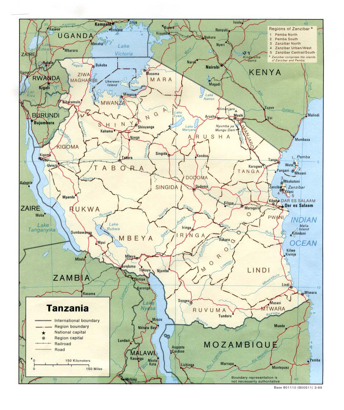 Picture of: Detailed Political And Administrative Map Of Tanzania With Highways And Cities Vidiani Com Maps Of All Countries In One Place