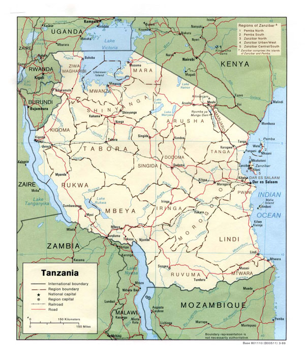 Detailed political and administrative map of Tanzania with highways and cities.