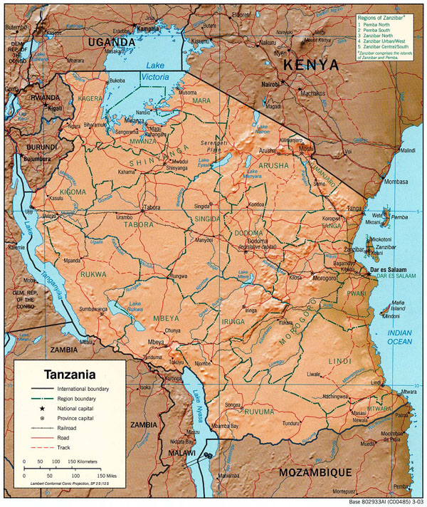 Detailed relief and political map of Tanzania. Tanzania detailed relief and political map.