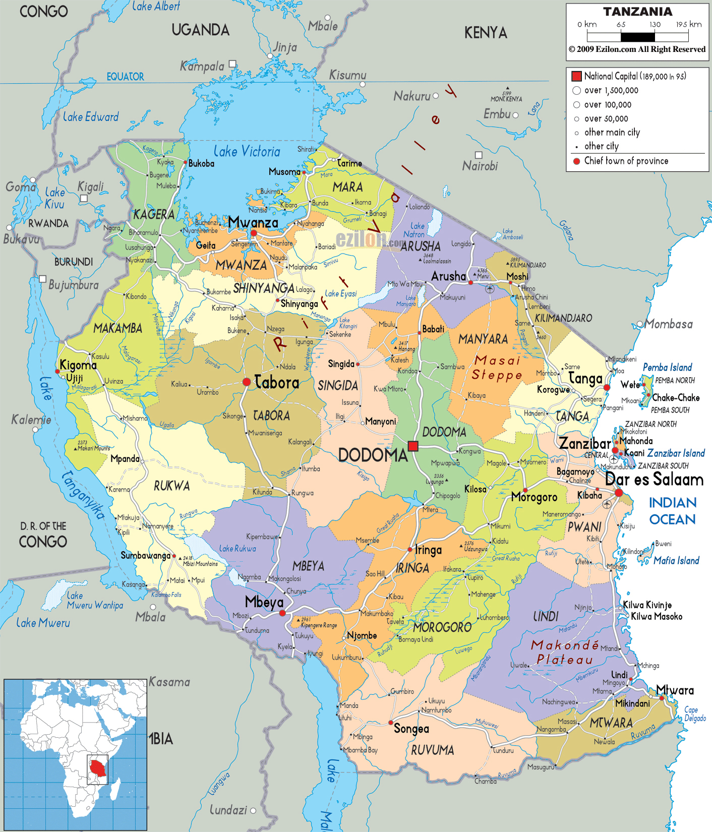 Large detailed administrative map of Tanzania with all cities, roads