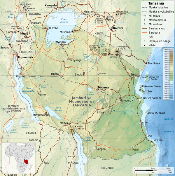 Large detailed physical map of Tanzania with all cities, roads and airports.