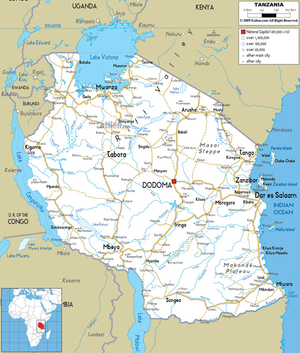 Large detailed road map of Tanzania with all cities and airports.
