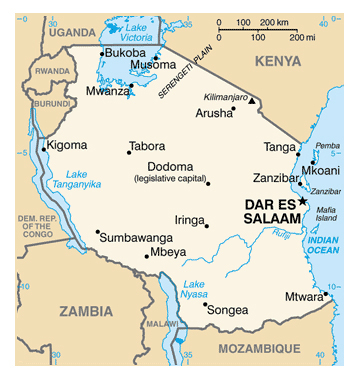 Map of Tanzania. Tanzania map.