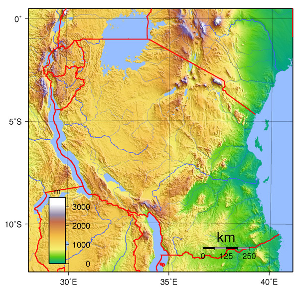 Physical map of Tanzania. Tanzania physical map.