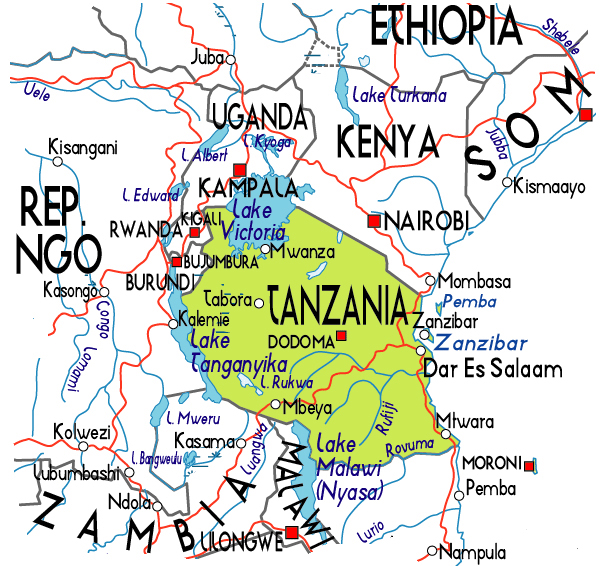 Political map of Tanzania. Tanzania political map.
