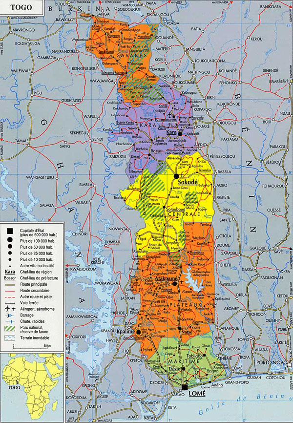 Detailed administrative map of Togo. Togo detailed administrative map.