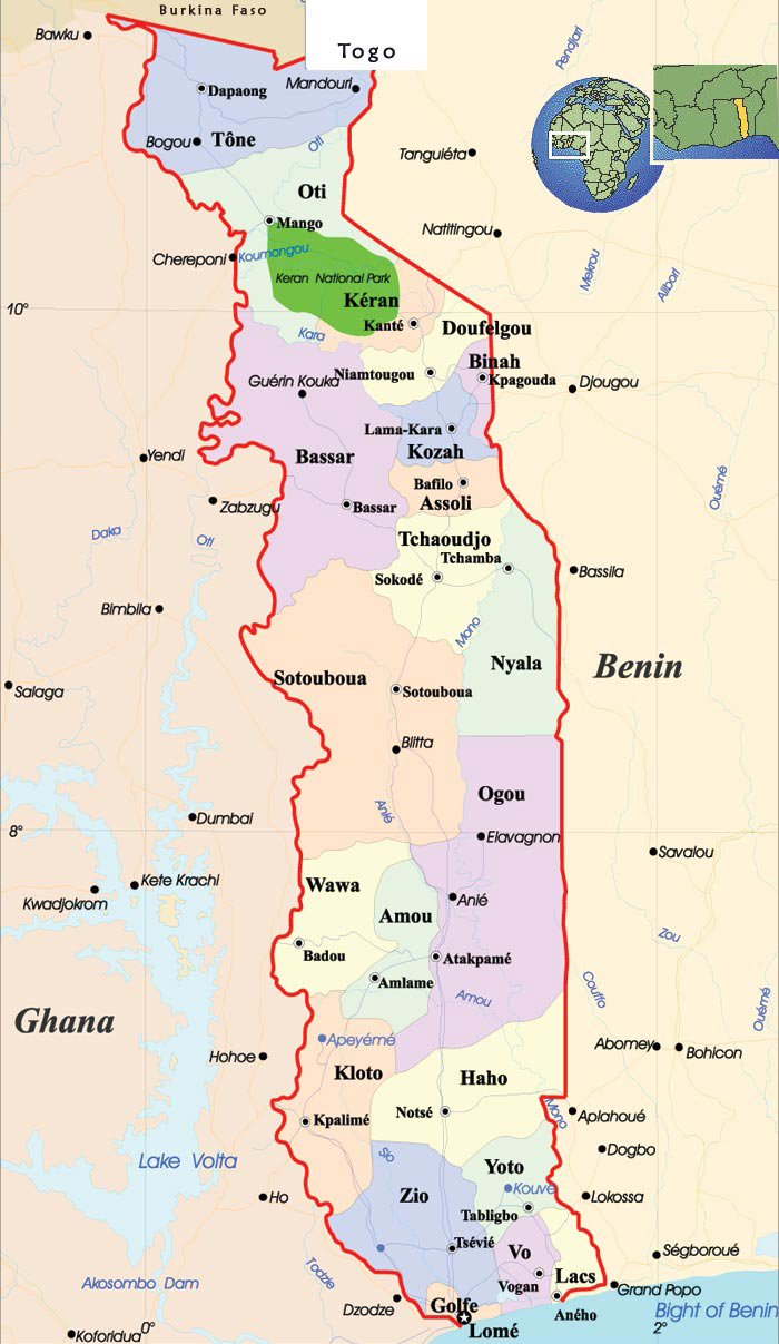 Detailed administrative map of Togo with cities. Togo detailed administrative map with cities.