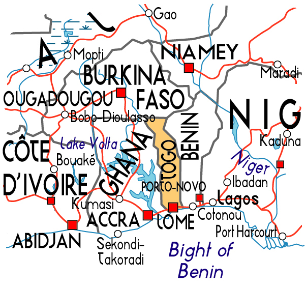 Detailed political map of Togo. Togo detailed political map.