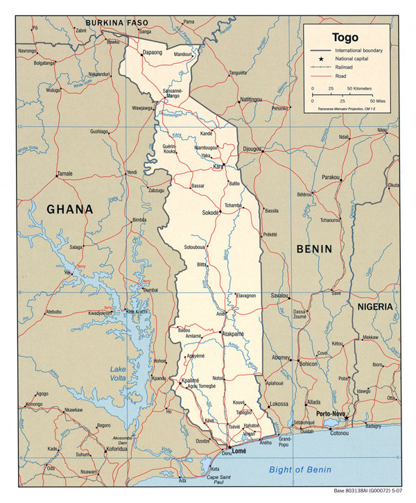 Detailed political map of Togo with highways and cities.