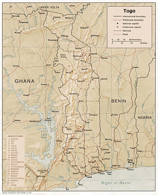 Detailed relief and political map of Togo. Togo detailed relief and political map.
