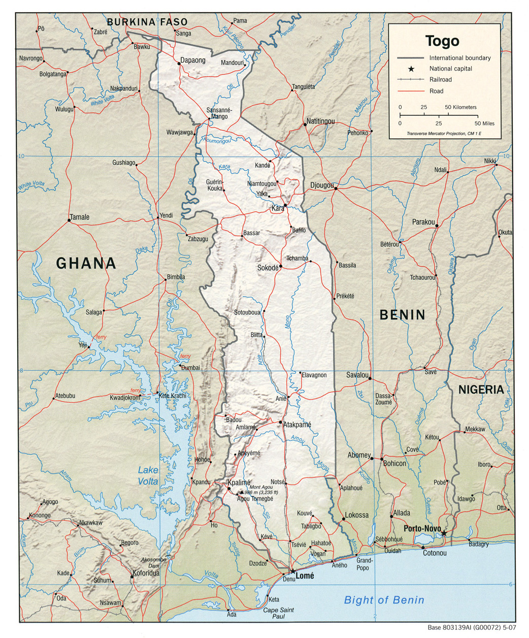 Detailed relief and political map of Togo with roads and cities