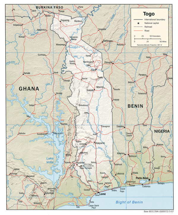 Detailed relief and political map of Togo with roads and cities.
