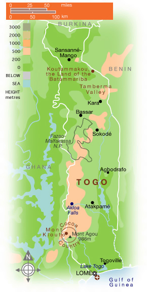 Physical map of Togo. Togo physical map.