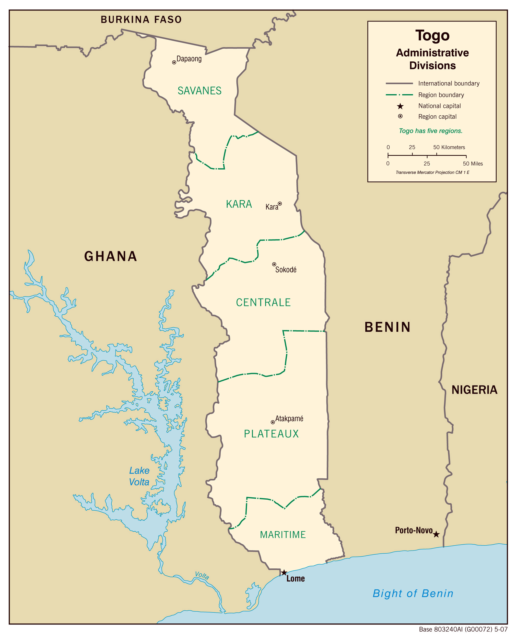 Togo administrative map with regions capitals. Administrative map of on