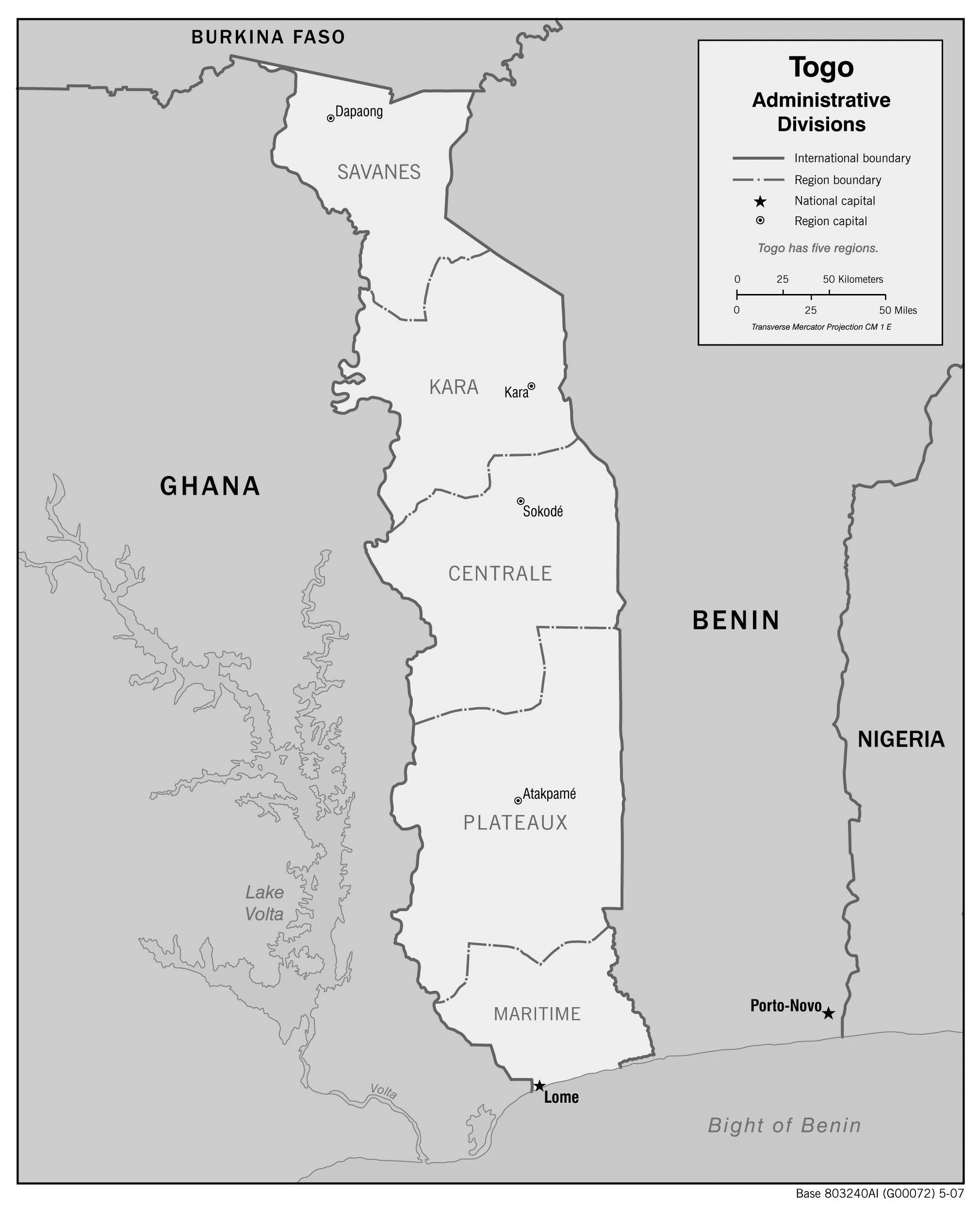Togo administrative map with regions capitals greyscale
