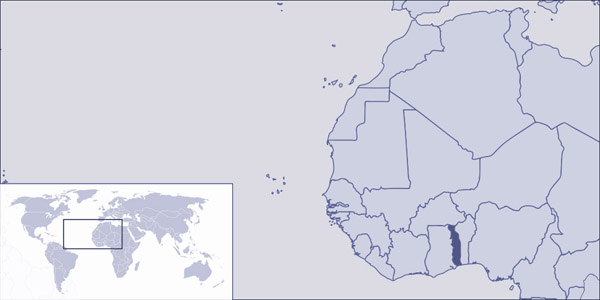 Togo detailed location map. Detailed location map of Togo.