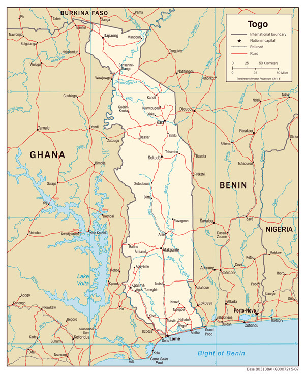 Togo political map. Political map of Togo.