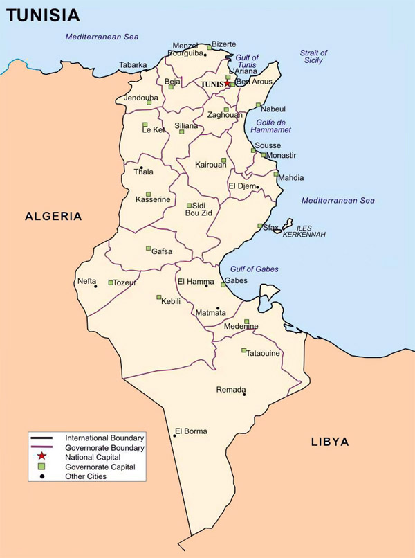 Detailed administrative map of Tunisia with cities.