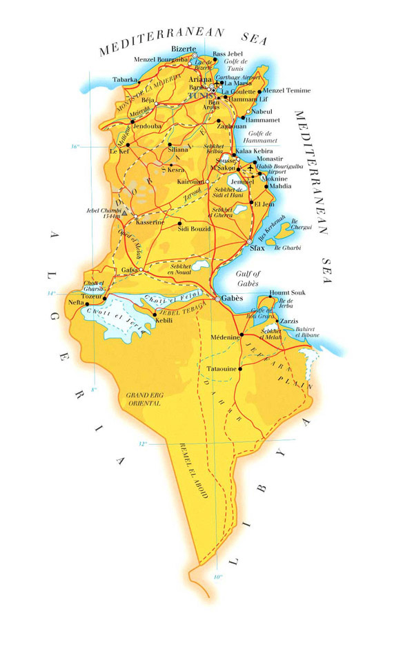 Detailed physical and road map of Tunisia. Tunisia detailed physical and road map.