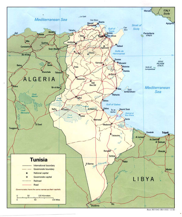 Detailed political and administrative map of Tunisia.