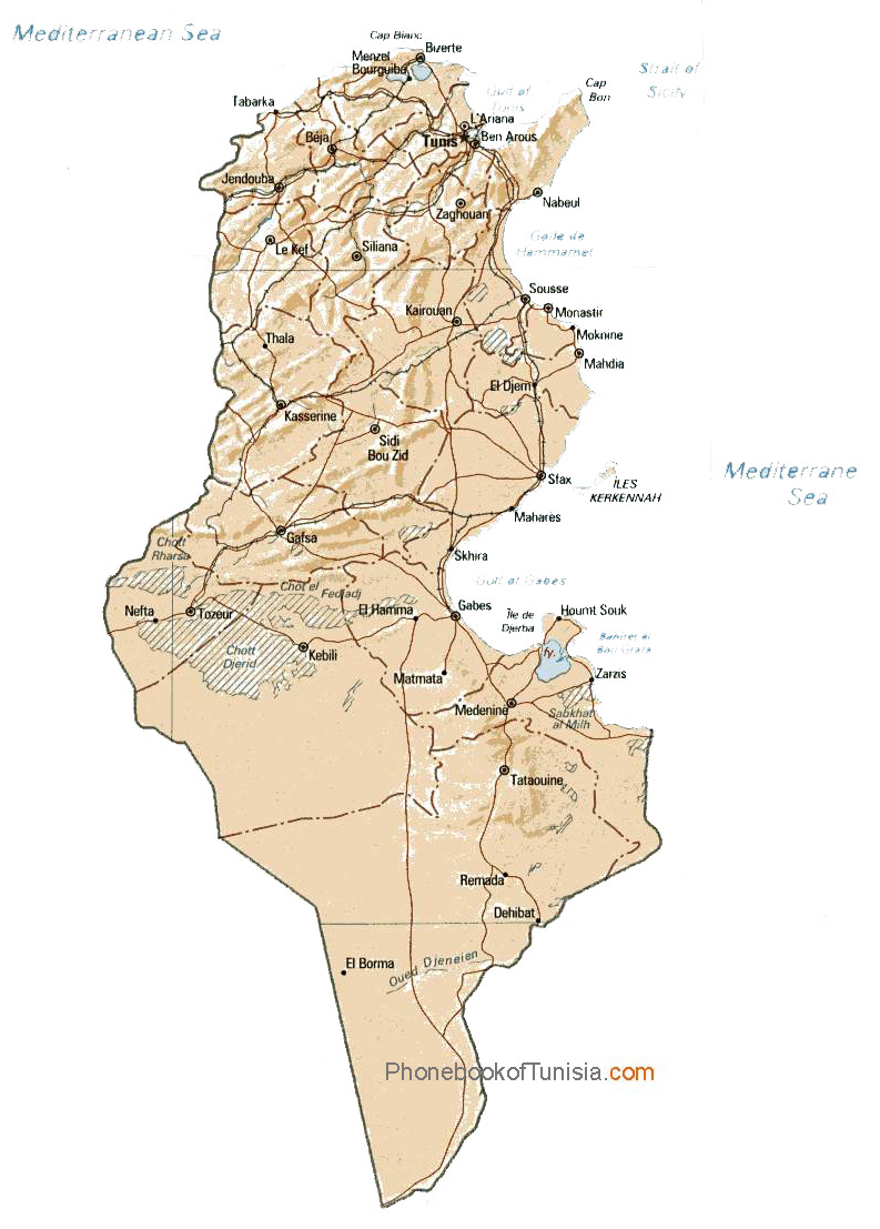 Detailed relief and administrative map of Tunisia Tunisia detailed