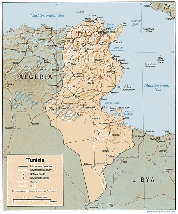 Detailed relief and political map of Tunisia. Tunisia detailed relief and political map.