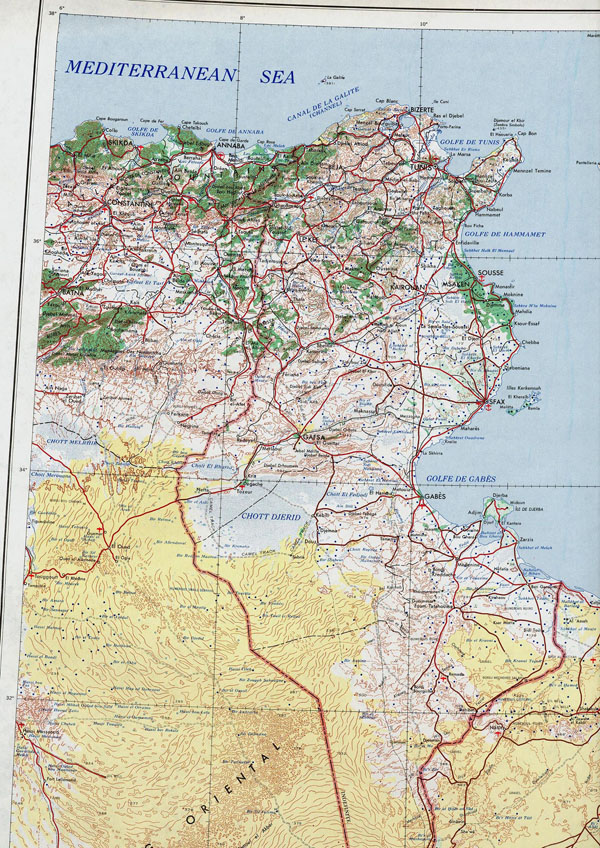 Detailed topographical map of Tunisia. Tunisia detailed topographical map.