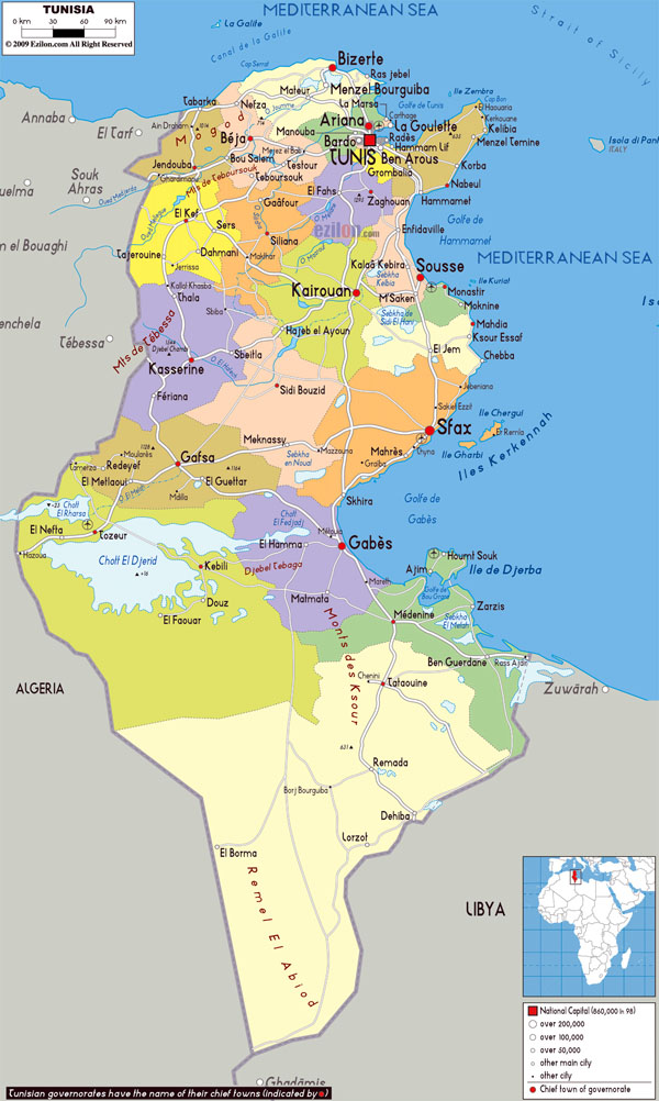 Large detailed political and administrative map of Tunisia with all roads, cities and airports.