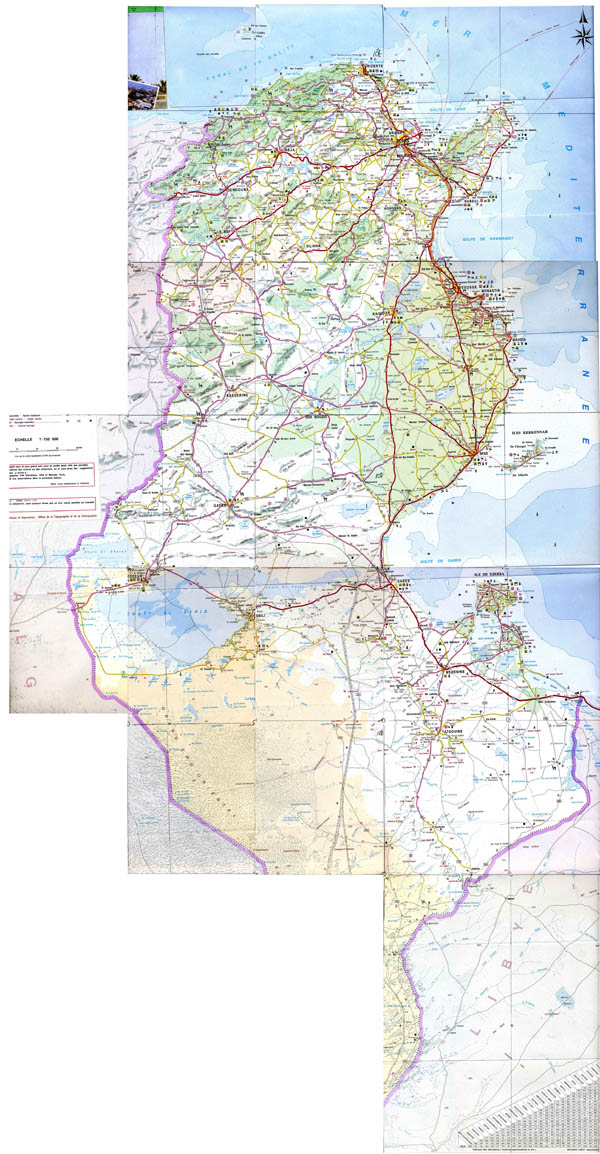 Large detailed road map of Tunisia with all cities and villages.