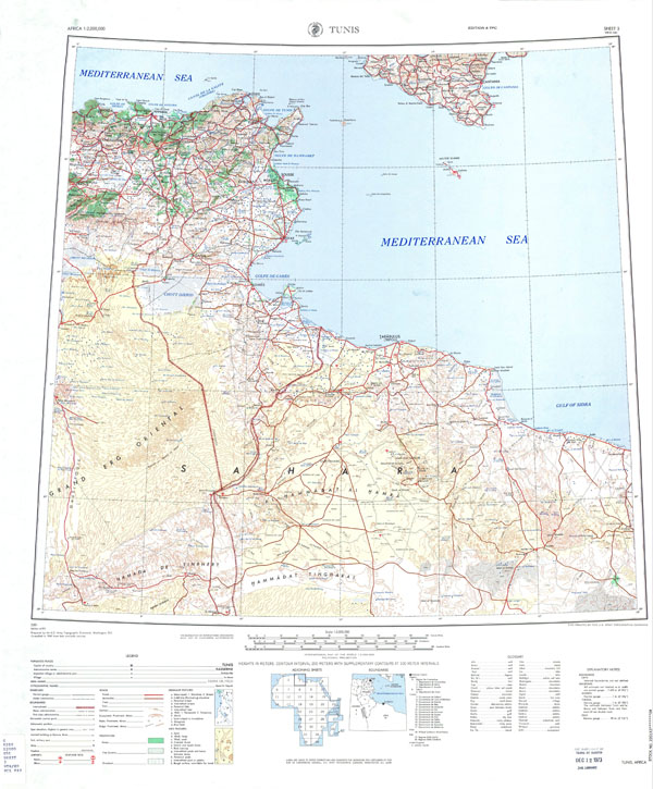 Large scale detailed topographic map of Tunis with all cities, roads, sea ports and airports.