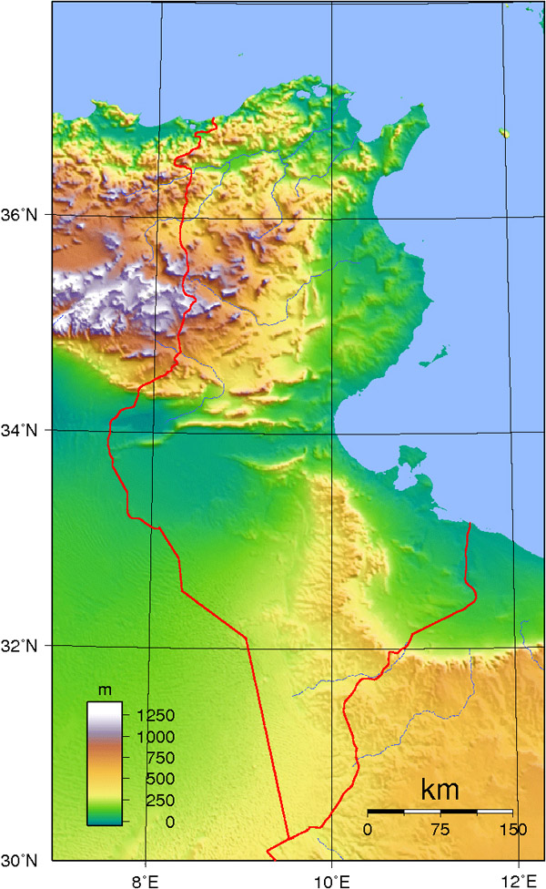 Tunisia large detailed topographical map. Large detailed topographical map of Tunisia.