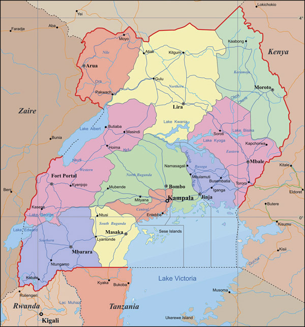 Detailed administrative map of Uganda with cities and highways.