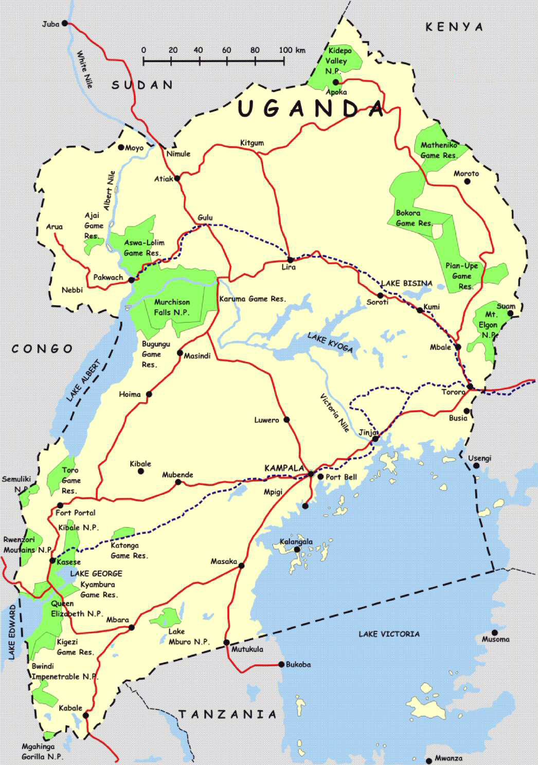 Detailed highways map of Uganda. Uganda detailed highways map ...