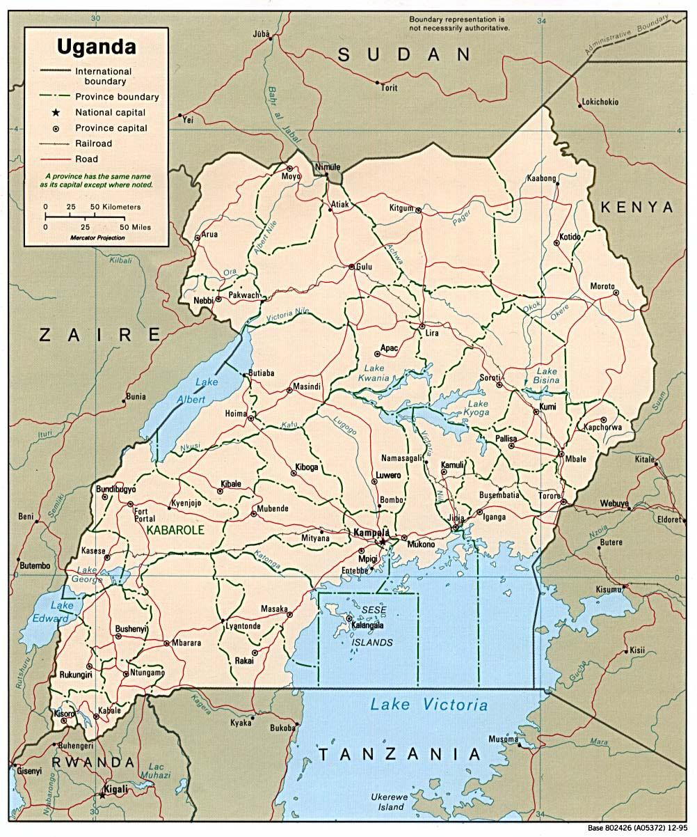 Detailed political and administrative map of Uganda Uganda detailed