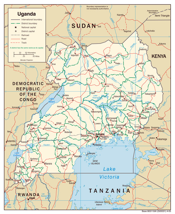 Detailed political map of Uganda. Uganda detailed political map.