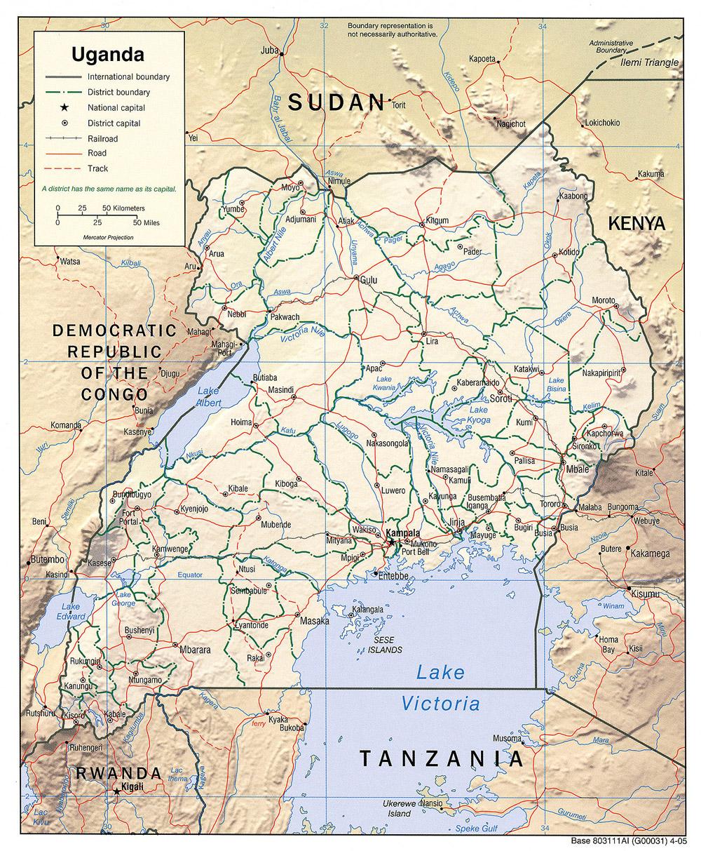Detailed relief and administrative map of Uganda Uganda detailed