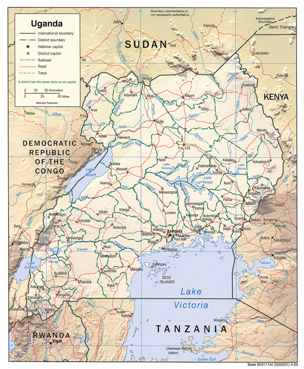 Detailed relief and administrative map of Uganda.