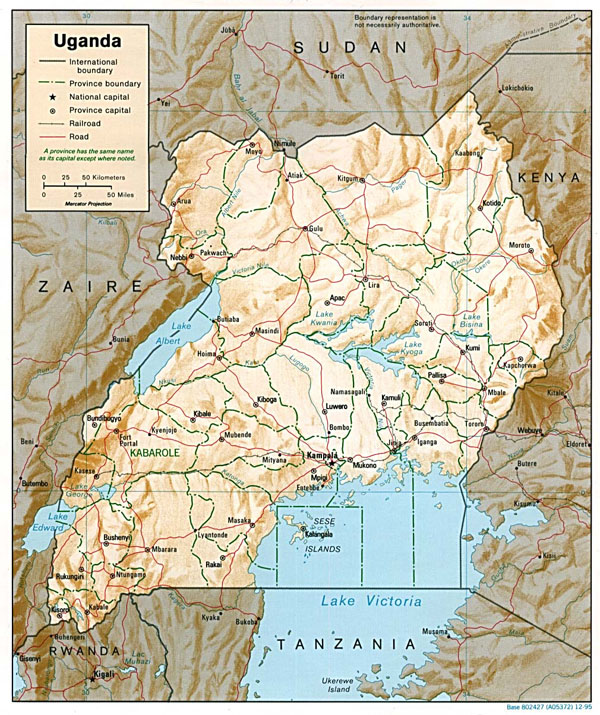 Detailed relief and political map of Uganda.