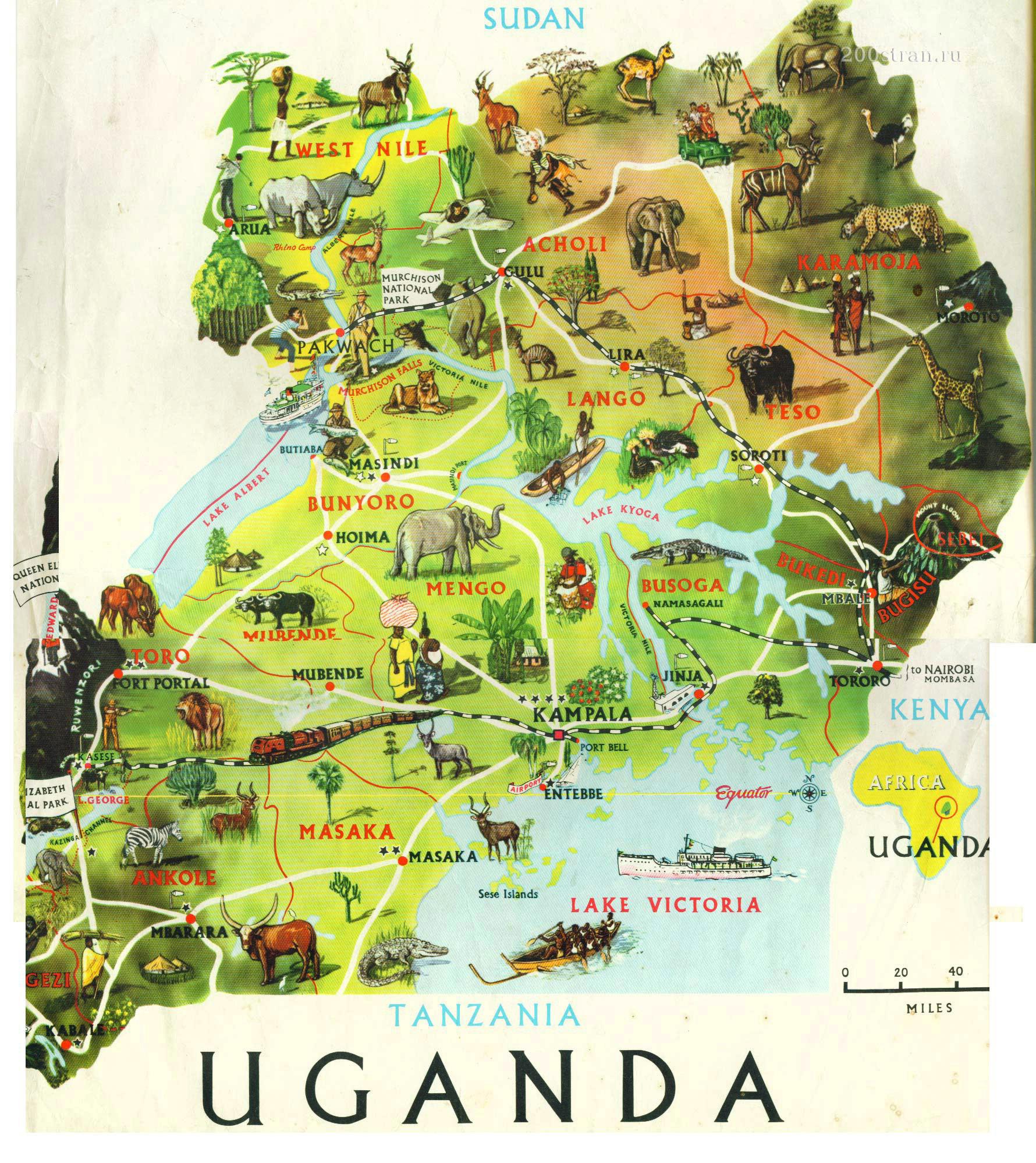 uganda touristische karte. Black Bedroom Furniture Sets. Home Design Ideas