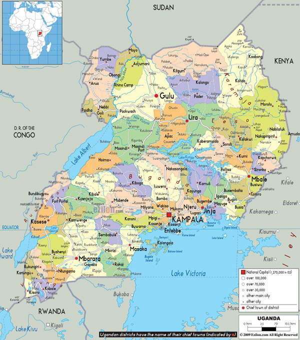 Large detailed administrative map of Uganda with all cities, roads and airports.